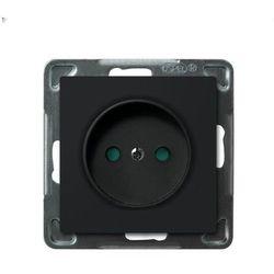 Gniazdo pojedyncze GP-1RP/m/33 Ospel Sonataz przesłonami torów prądowych czarny metalik
