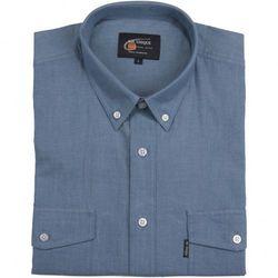 Bawełniana koszula męska w tonacji szaroniebieskiej Mr.Unique z krótkim rękawem