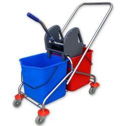 Wózek do sprzątania chromowany dwuwiadrowy 2x20 l z wyciskarką Wózki do sprzątania mycia podłóg