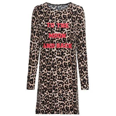 1a53db6ec0 Sukienka w cętki leoparda bonprix czarno-beżowo-czerwony z nadrukiem