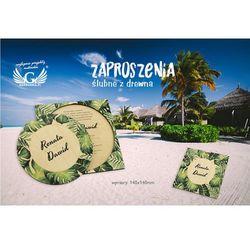 Zaproszenia ślubne z drewna - tropikalne - cyfrowy druk UV - ZAP044