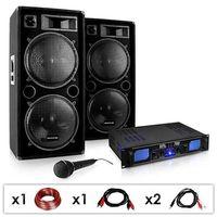 """Głośniki i monitory odsłuchowe, Electronic-Star Zestaw PA DJ """"DJ-26"""" wzmacniacz PA kolumny mikrofon 2000W"""
