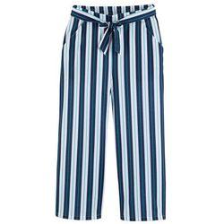 Szerokie spodnie shirtowe dziewczęce z paskiem bonprix ciemnoniebiesko-biały