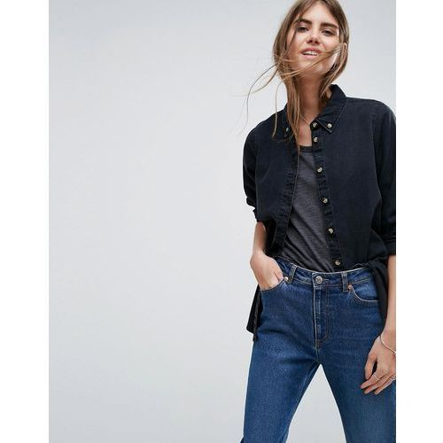 Koszule damskie, ASOS Denim Shirt in Washed Black - Black