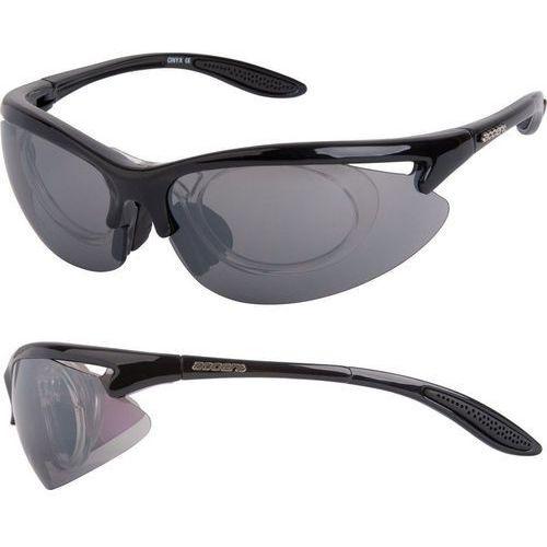 Okulary przeciwsłoneczne, Okulary Accent Onyx czarne połysk 2 pary soczewe + Adapter