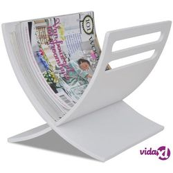 vidaXL Drewniany stojak na gazety, biały Darmowa wysyłka i zwroty