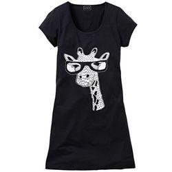 Koszula nocna z motywem zwierzątka bonprix czarny z nadrukiem