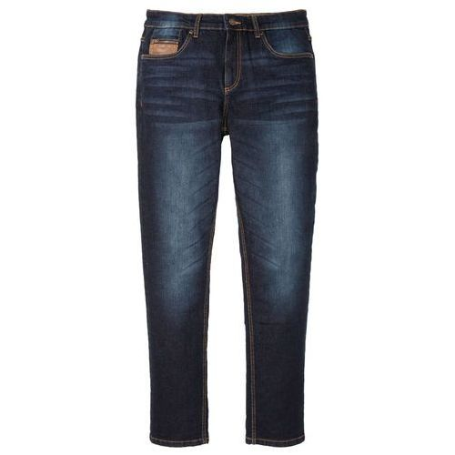 Spodnie męskie, Dżinsy ze stretchem, z elementami ze sztucznej skóry Slim Fit Straight bonprix ciemny denim