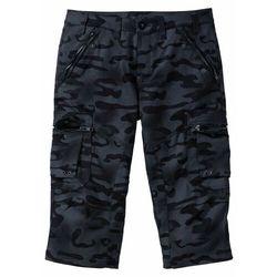 Spodnie bojówki 3/4 Straight Fit bonprix czarny moro, bojówki