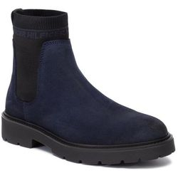 Kozaki TOMMY HILFIGER - Suede Cleated Chelsea Boot FM0FM02532 Midnight CKI