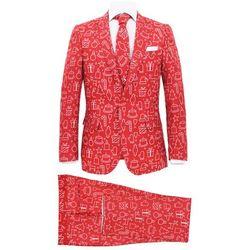 Świąteczny garnitur męski z krawatem, 2-częściowy, 46, czerwony
