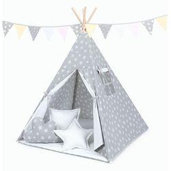 MAMO-TATO Namiot TIPI z matą i poduszkami Gwiazdy bąbelkowe białe duże / kropki szare
