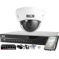 Zestawy monitoringowe, ZM12438 Zestaw monitoringu BCS AI Rejestrator IP + 1x Kamera 2MP BCS-DMIP3201IR-Ai + Akcesoria