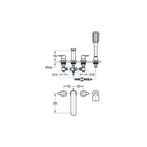 Baterie do wannowo-prysznicowe, Bateria Omnires HUDSON HS4132