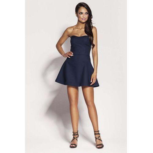 Suknie i sukienki, Granatowa Mini Sukienka z Odkrytymi Ramionami