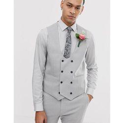 ASOS DESIGN wedding super skinny suit waistcoat in micro texture ice grey - Grey