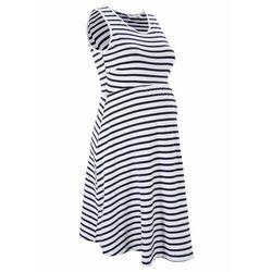 Sukienka ciążowa z dżerseju w paski bonprix ciemnoniebiesko-biały w paski