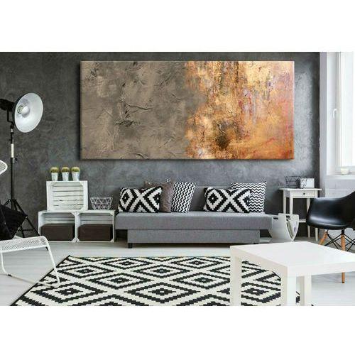 Obrazy, Duże obrazy nowoczesne - ręcznie malowane - popielaty beż z metalicznym wykończeniem rabat 10%