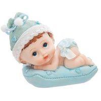 Rzeźby i figurki, Figurka - Chłopiec z błękitną poduszką - 9,5 cm