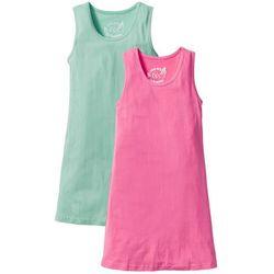 Sukienka shirtowa (2 szt. w opak.) bonprix niebieski mentolowy + różowy flaming