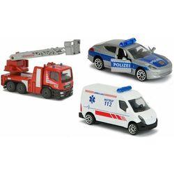 Majorette pojazdy SOS 3 sztuki wóz strażacki radiowóz karetka