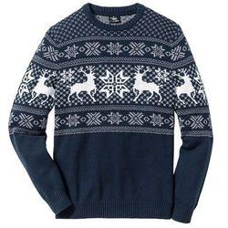 Sweter w norweski wzór bonprix ciemnoniebieski