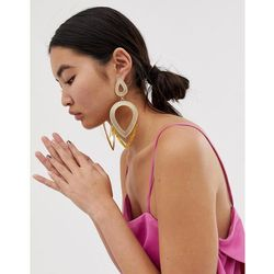 ASOS DESIGN earrings in statement textured open shape design with resin in gold - Gold
