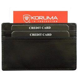 ✅ Skórzane Etui Karty Kredytowe Zbliżeniowe Zabezpieczające RFID - Czarny połysk