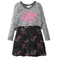 Zestawy odzieżowe dziecięce, Sukienka dziewczęca + shirt warstwowy (2 części) bonprix czarno-biały z nadrukiem