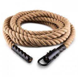 Lina Power Rope z hakiem 9 m 3,8 cm Lina konopna do ćwiczeń siłowych Zamocowanie sufitowe