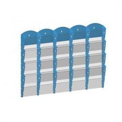 Plastikowy uchwyt ścienny na ulotki - 5x4 A5, niebieski