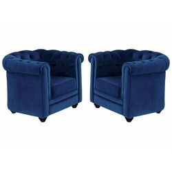 Komplet 2 foteli CHESTERFIELD - Welur w odcieniu niebieskim królewskim