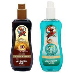 Australian Gold SPF 10 Spray Gel Bronzer and Aloe Freeze Spray | Zestaw do opalania: spray do opalania z bronzerem 237ml + chłodzący spray po opalaniu 237ml