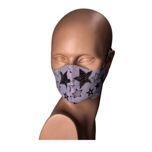 Maseczki ochronne, Maseczka na twarz wielorazowa szara (gwiazdki) - czarny ||szary ||biały