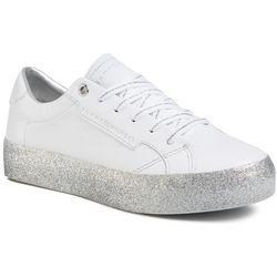 Sneakersy TOMMY HILFIGER - Glitter Foxing Dress Sneaker FW0FW04849 White/Silver 0K5