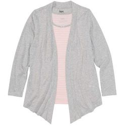 Wdzianko shirtowe z topem bonprix jasnoróżowo-jasnoszary melanż w paski