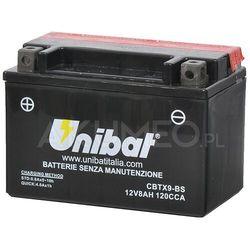 Akumulator UNIBAT AGM CBTX9-BS 12V 8Ah 120A lewy+