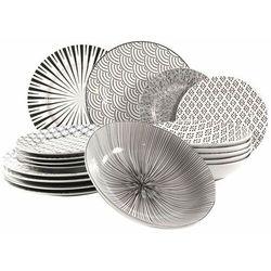 Marex Trade zestaw SEOUL 18 szt. talerzy porcelanowych, biało-czarny