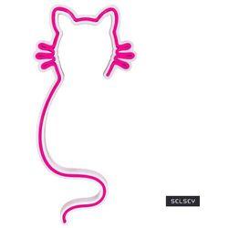 SELSEY Neon na ścianę Letely w kształcie kota różowy