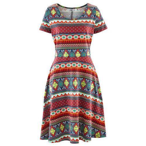 Suknie i sukienki, Sukienka z krótkim rękawem bonprix kobaltowy z nadrukiem
