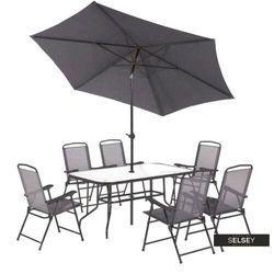 SELSEY Zestaw ogrodowy Rapasolla stół z sześcioma krzesłami i parasolem szary