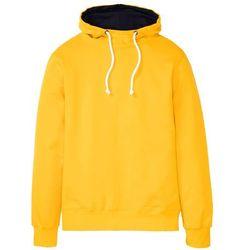 Bluza z kapturem bonprix żółty szafranowy - ciemnoniebieski