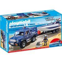 Klocki dla dzieci, Playmobil CITY ACTION Pojazd terenowy policji z motorówką 5187 wyprzedaż