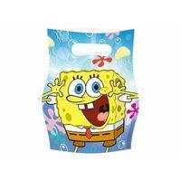 Pozostałe dekoracje, Prezentowe torebki urodzinowe Spongebob kanciastoporty - 6 szt.