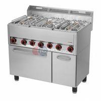 Piece i płyty grzejne gastronomiczne, Kuchnia gazowa wolnostojąca 6-palnikowa z piekarnikiem elektrycznym Red Fox linia 600 SPT 90 GLS