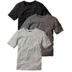 T-shirt (3 szt.) Regular Fit bonprix antracytowy melanż + jasnoszary melanż + czarny