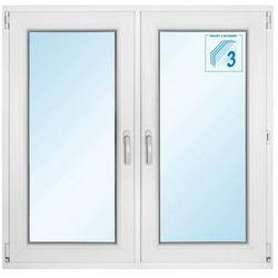 Okno PCV rozwierne + rozwierno - uchylne 1165 x 1135 mm białe symetryczne