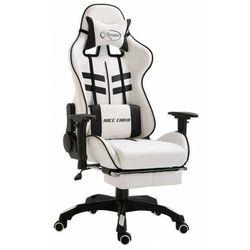 Biało-czarne krzesło gamingowe z podnóżkiem - Darso