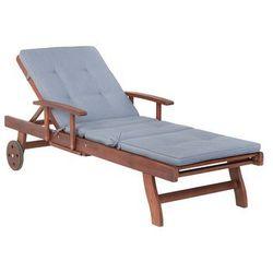 Leżak ogrodowy drewniany z niebieską poduszką TOSCANA