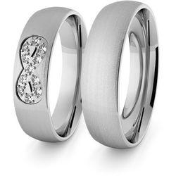 Obrączki ślubne klasyczne z białego złota palladowego 5 mm - nieskończoność - 69